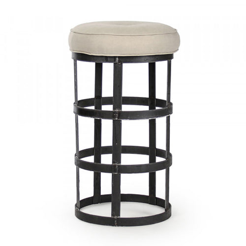 Zentique Recycled Metal Bar Stool Natural Linen