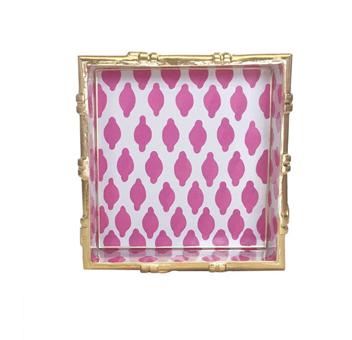 Dana Gibson Bamboo in Parsi Pink Square Tray