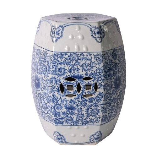 Hexagonal Lotus Stool, Blue/White by Legends of Asia