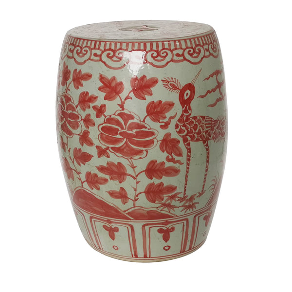 Coral Red Bird Village Garden Stool by Legend of Asia