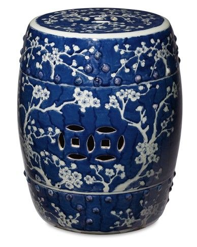 Cherry Blossom Stool in Blue and White by Legend of Asia