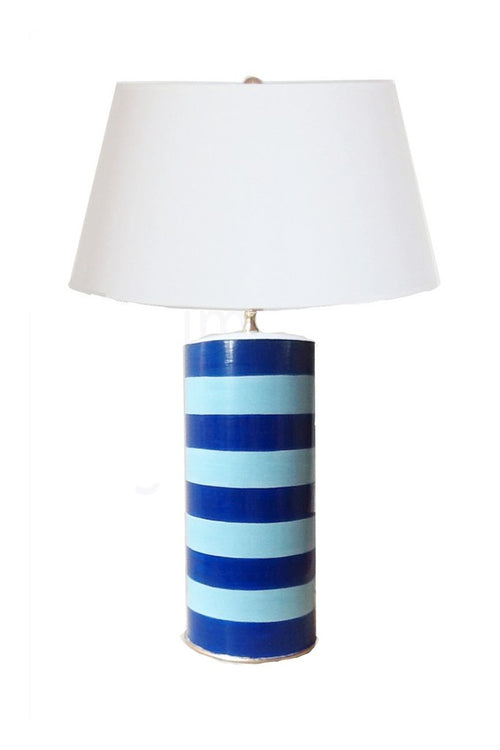 Dana Gibson Striped Lamp, Turquoise Blue