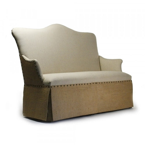 Zentique Skirted Chair Antique Natural Linen, Burlap