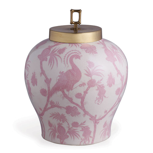 Scalamandre for Port 68 Balinese Peacock Jar in Pink