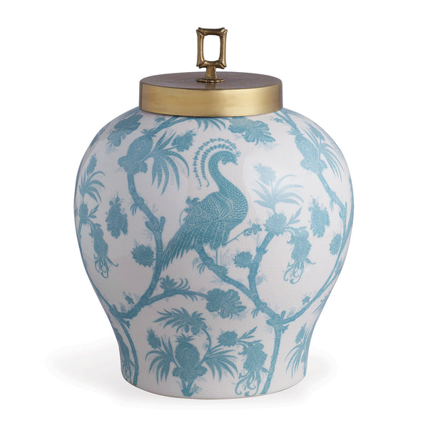 Scalamandre for Port 68 Balinese Peacock Jar in Turquoise