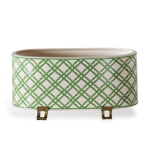 Williamsburg for Port 68 Green Bamboo Trellis Oval Planter