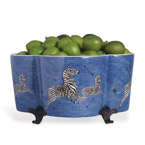 Scalamandre for Port 68 Blue Zebra Quatrefoil Planter
