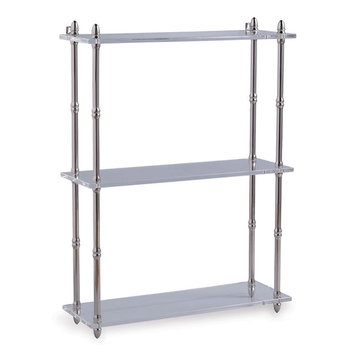 Port 68 Carmel Wall Shelf in Nickel and White, Wide