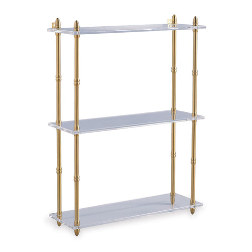 Carmel Brass and Lucite Wall Shelf by Port 68, Wide