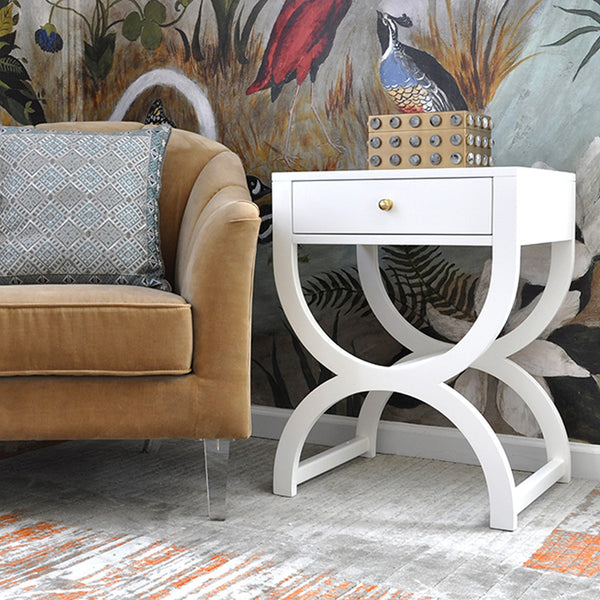 Worlds Away Alexis White Side Table or Nightstand