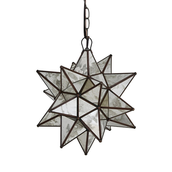 Worlds Away Star Pendant Light in Antique Mirror