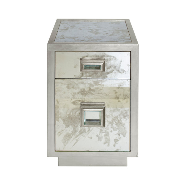 Worlds Away Cisco Antique Mirror End Table