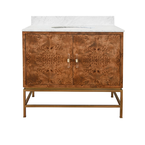 Worlds Away Clifford Burl Wood Bathroom Vanity