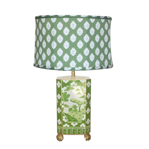 Dana Gibson Canton Table Lamp in Green with Bellamy Shade