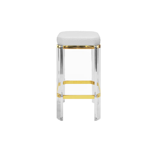 Worlds Away Dorsey White and Brass Acrylic Stool