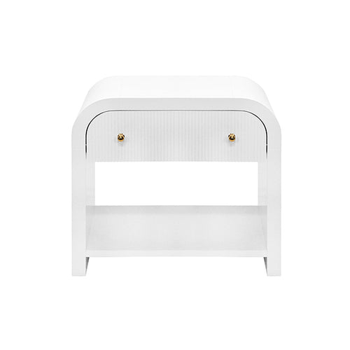 Worlds Away Esther Side Table in White