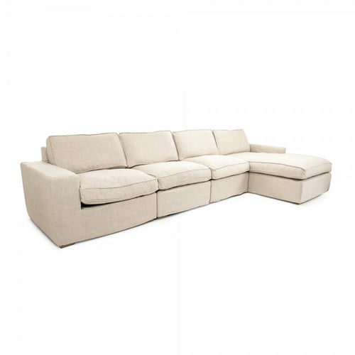 Zentique Chaud Sectional Cream Natural Linen