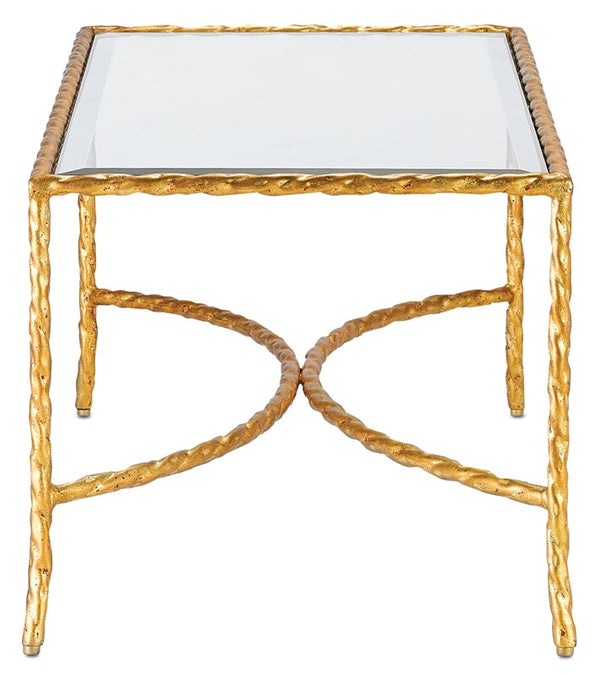 Currey and Company Gilt Twist Cocktail Table