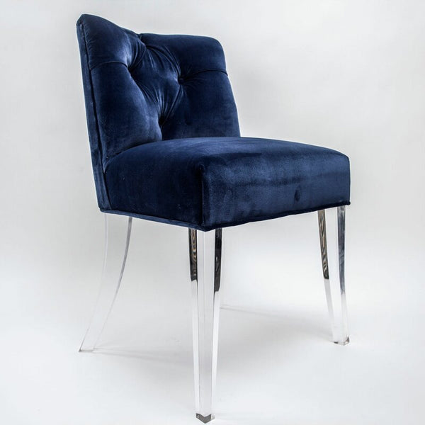 Jamie Dietrich Grace Side Chair in Blue Velvet