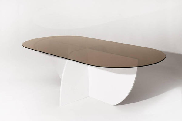 Aurora Dining Table, White Mosaic Base / Bronze Glass