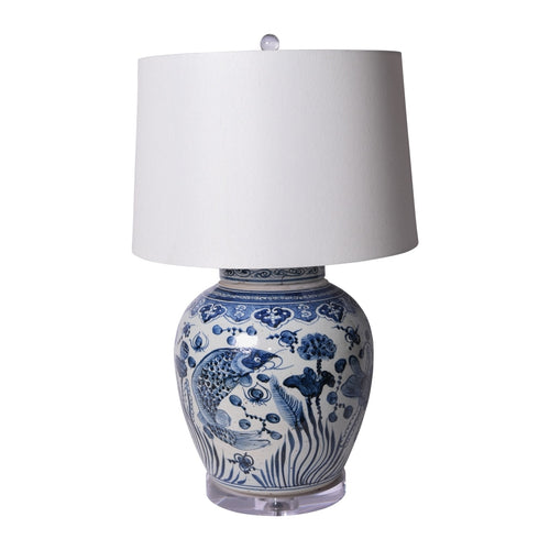 Blue and White Porcelain Table Lamp With Ancestor Fish Design by Legend of Asia