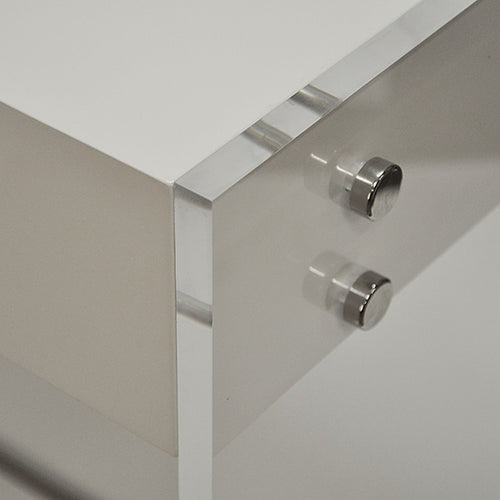 Worlds Away Lennon Acrylic Side Panel Desk in White Lacquer