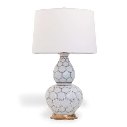 Port 68 Kenilworth Double-Gourd Table Lamp, White/Brown