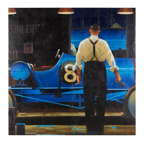Man Painting Race Car' by Roland Renaud - Art on Metal by Bobo Intriguing Objects