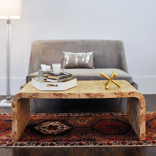 Worlds Away Newbury Waterfall Coffee Table in Dark Burl Wood