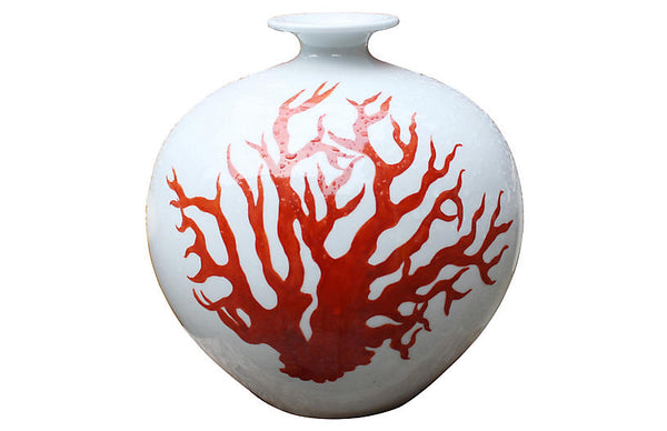 "10"" Pomegranate Vase, Orange/White"