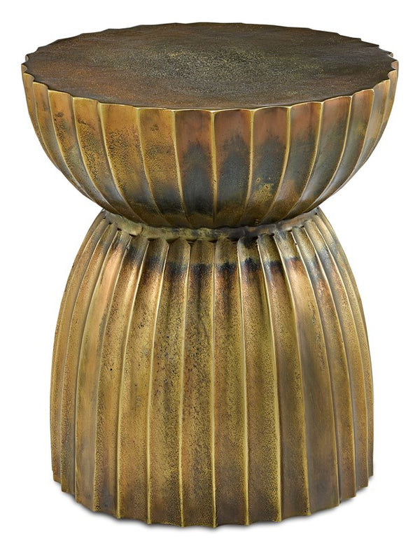 Currey and Company Rasi Antique Brass Table/Stool