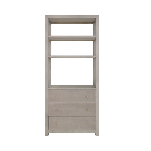 Worlds Away Silas Etagere, Grey Grasscloth