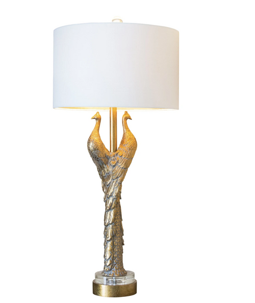 Couture Lighting Golden Peacock Table Lamp