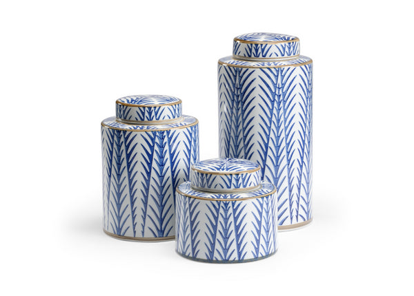 Blue Fronds Canisters by Wildwood, Set of Three