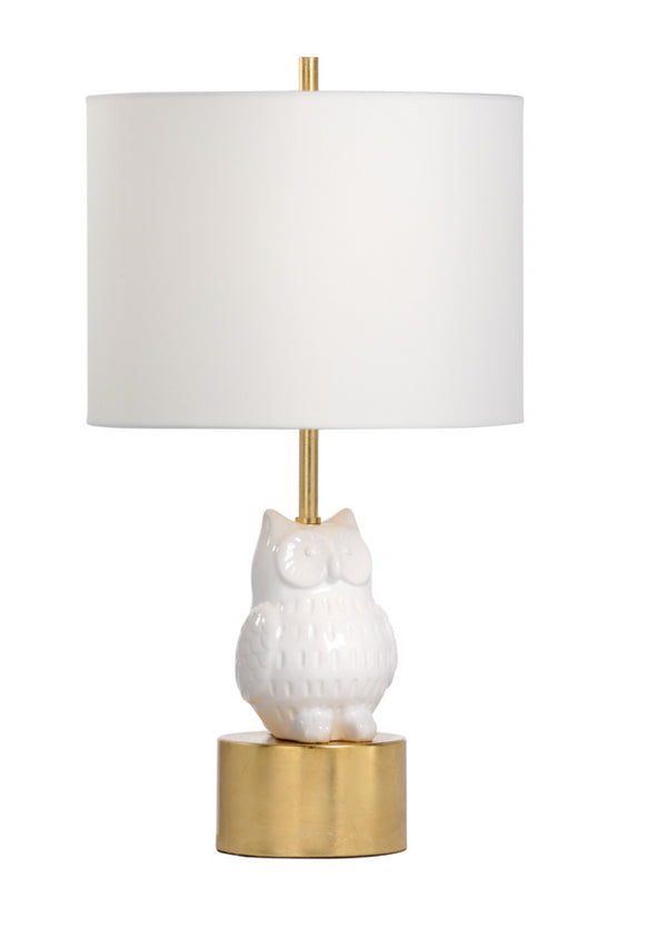 Hootie Owl Lamp in White and Gold by Wildwood