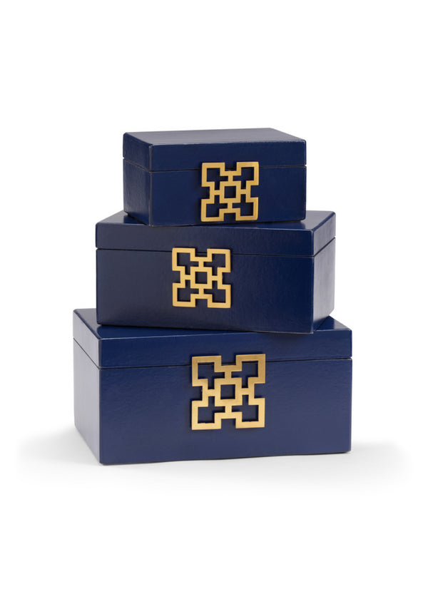 Hampton Leather Boxes in Blueberry, Set of 3 by Wildwood