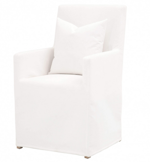 Shelter Slipcovered Arm Chair in Pearl/Natural Gray
