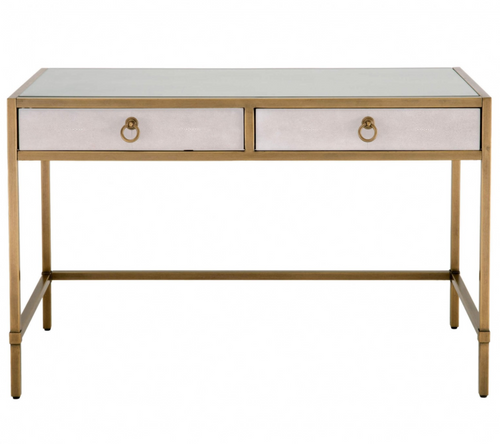 Strand Shagreen Desk in White and Gold