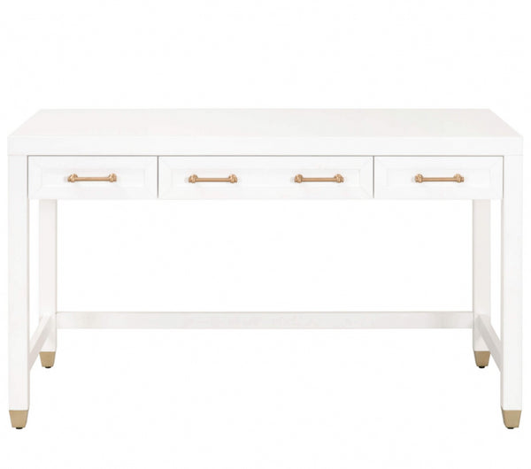 Sossy Desk in White and Brushed Brass