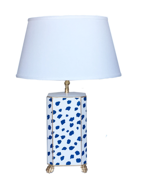 Dana Gibson Blue Fleck Lamp With Lion Detail