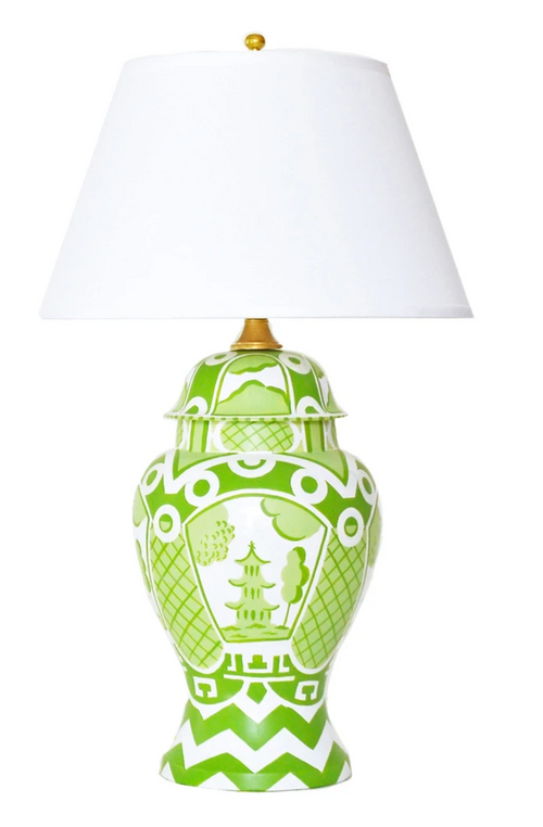 Dana Gibson Summer Palace Lamp, Green