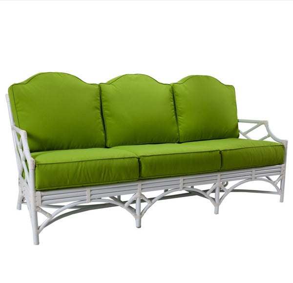 Chippendale Outdoor Sofa with Green Sunbrella Cushions by David Francis