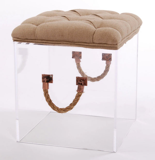 Jamie Dietrich Bella Cube End Table in Linen