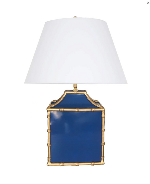 Dana Gibson Pagoda Lamp in Blue and Gold