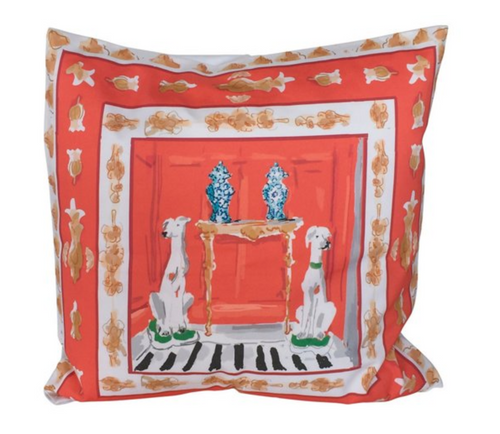 Dana Gibson Dog Pillow in Orange