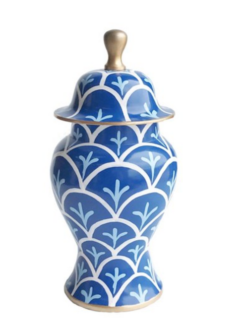 "Dana Gibson 14"" Bedford Ginger Jar, Blue/White"