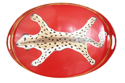 Dana Gibson Leopard Tray in Orange
