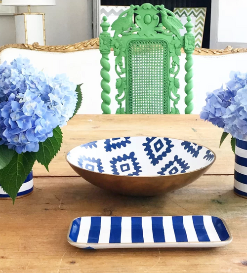 Block Print Decorative Bowl in Blue by Dana Gibson