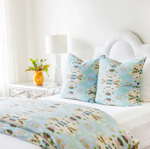 Summer Garden Light Blue Duvet Cover by Laura Park