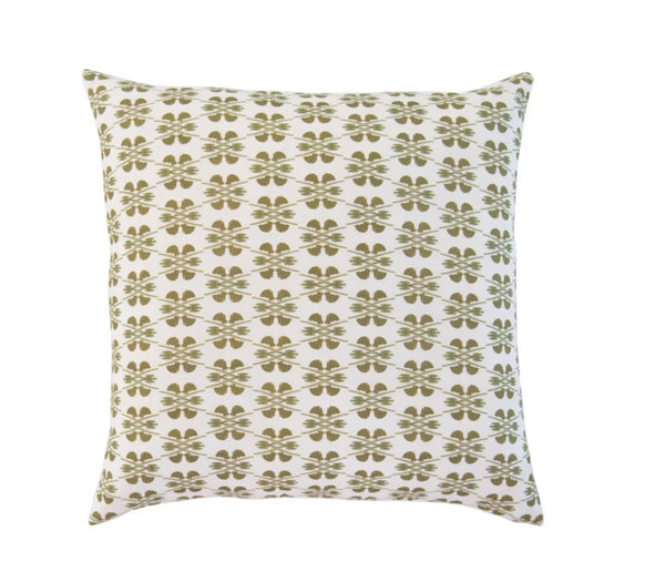 Laura Park Designs Clover Olive Linen Cotton Pillow